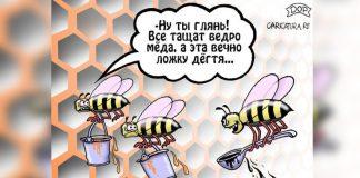 Ложка дёгтя в бочку мёда — карикатура на работу пчёл