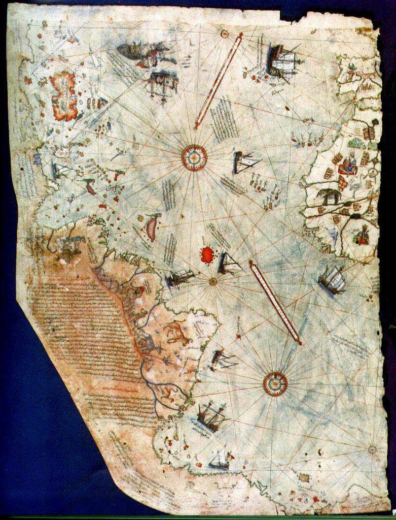 Карта Пири Рейса 1513 года с областью Восточного побережья США и Южной Америки