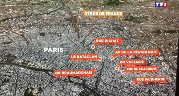 Терракты в Париже карта