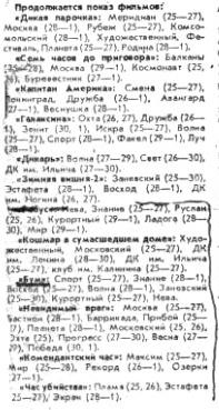 Часть программы перечня фильмов для Ленинграда на 24 — 26 июня 1991 года