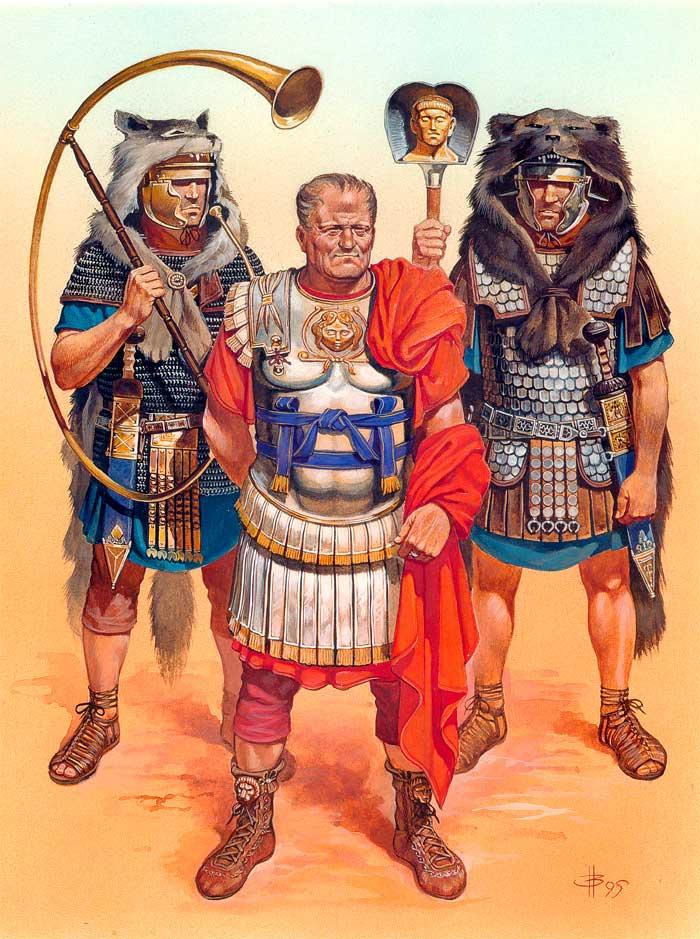 Римские легионеры в полном боевом снаряжении и с боевыми наградами
