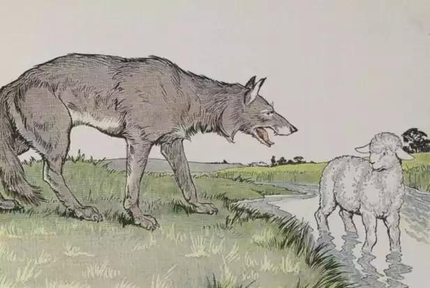 Иллюстрация к басне И.А. Крылова «Волк и ягнёнок»