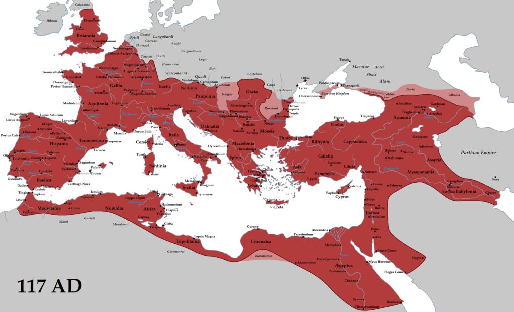Римская империя на пике могущества, 117 год н.э.