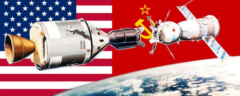 Иллюстрация космической гонки между США и СССР