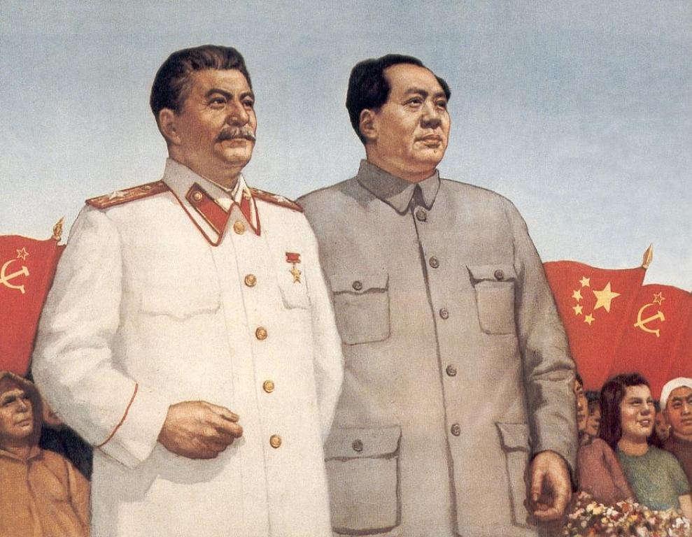 Китайский плакат со Сталиным и Мао Цзэдуном