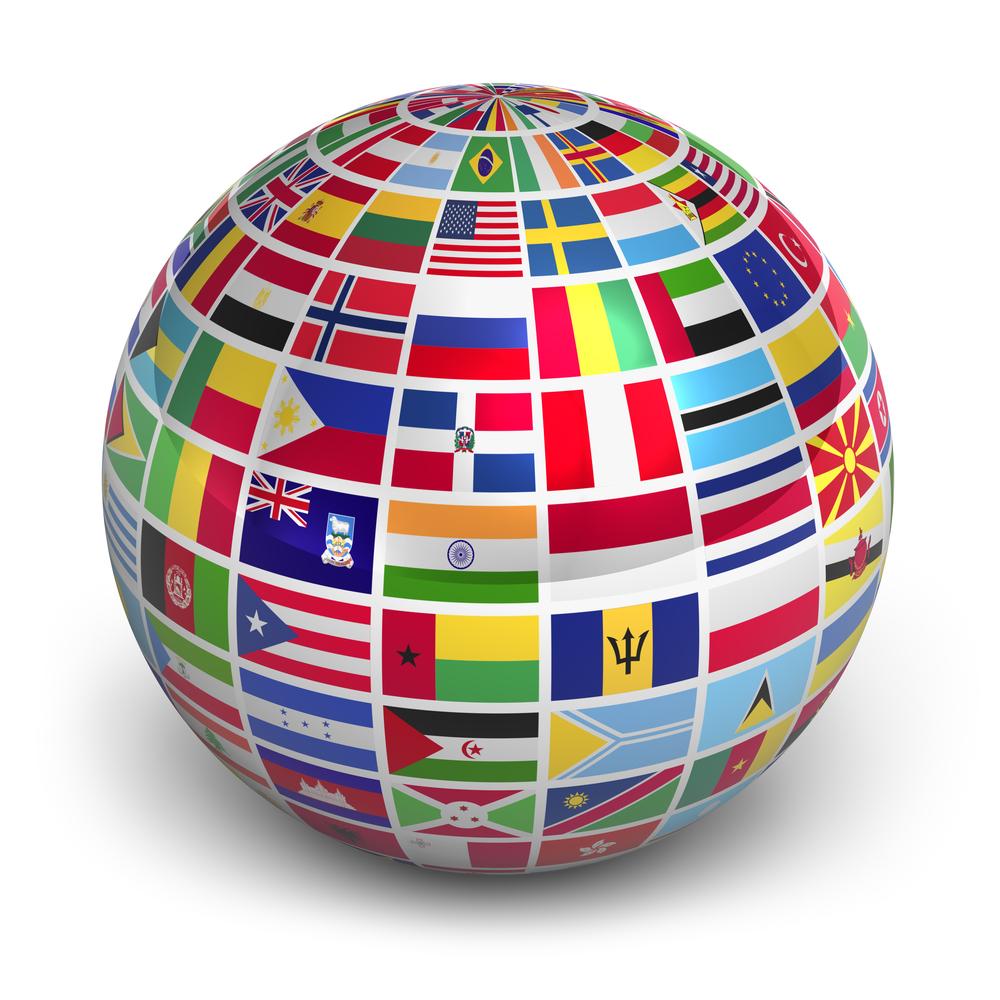 Земной шар с флагами разных стран мира