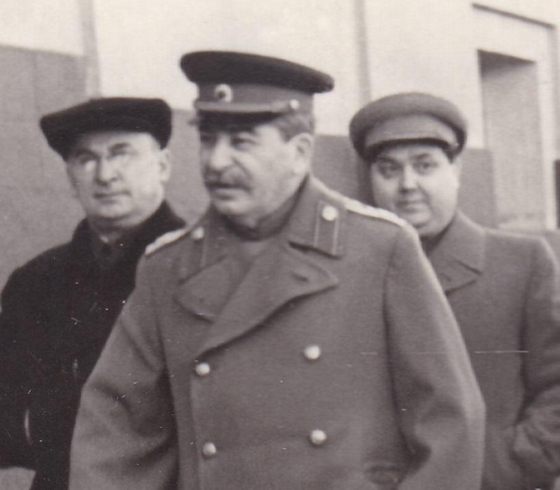 Л.П. Берия, И.В. Сталин, Г.М. Маленков