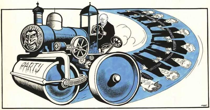 Карикатура голландского художника на тему того, как увидели победу Хрущёва на Западе