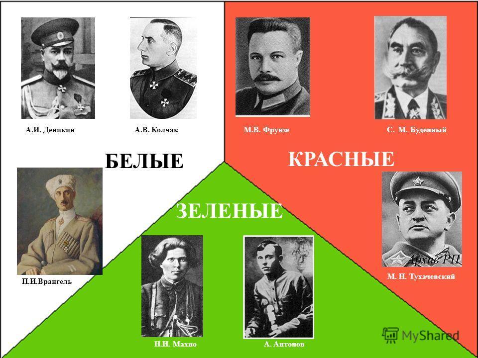 Воинские руководители «Белого», «Красного» и «Зелёного» движения