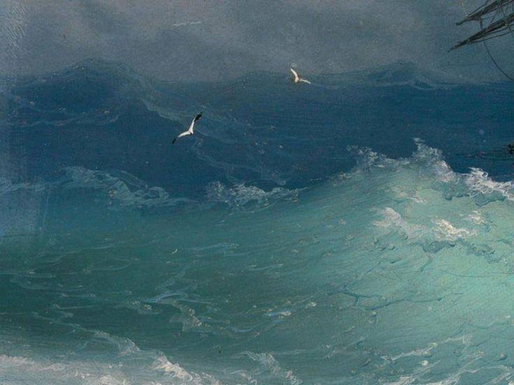 Фрагмент картины Айвазовского «Корабль среди бурного моря», 1887-10