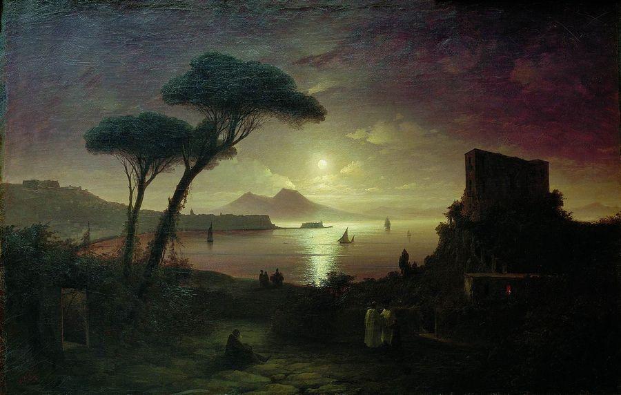 картина Айвазовского «Неаполитанский залив в лунную ночь,»1842 -07