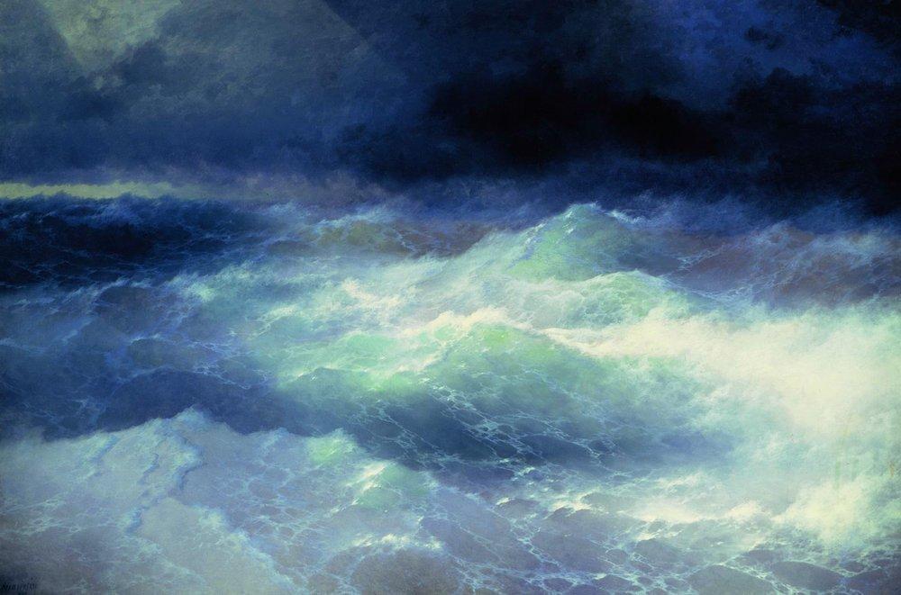 картина Айвазовского «Среди волн», 1898 -08
