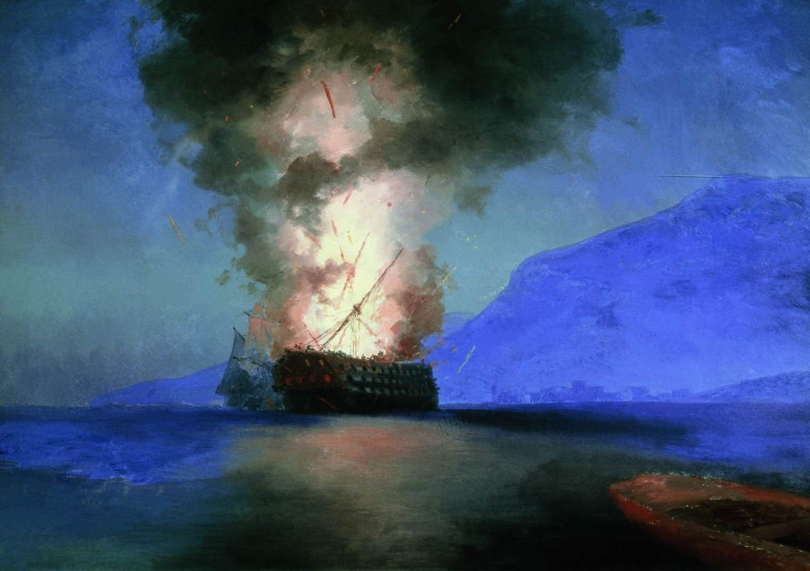 картина Айвазовского «Взрыв турецкого корабля» 1900 -23