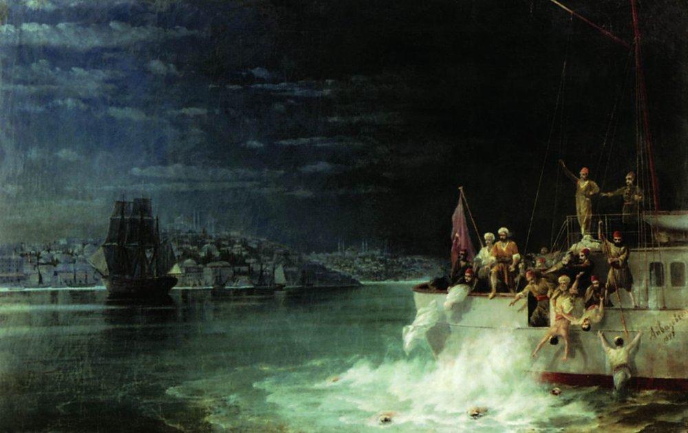 карттина Айвазовского «Ночь. Трагедия в Мраморном море» 1897-19