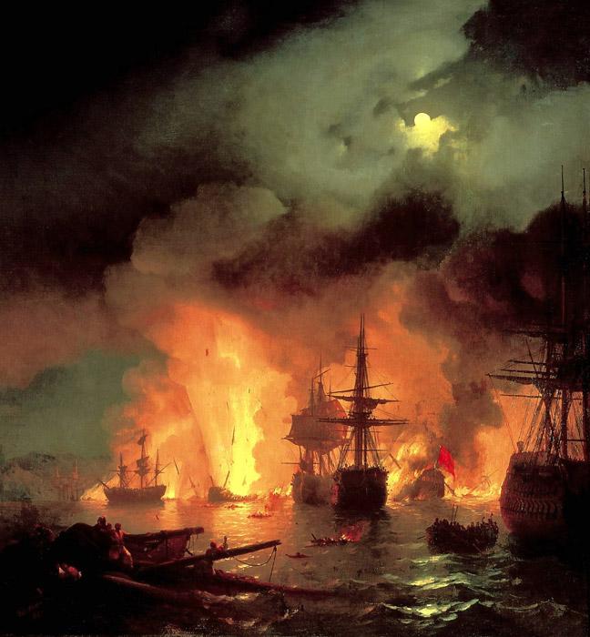картина Айвазовского «Чесменский бой» 1848-16