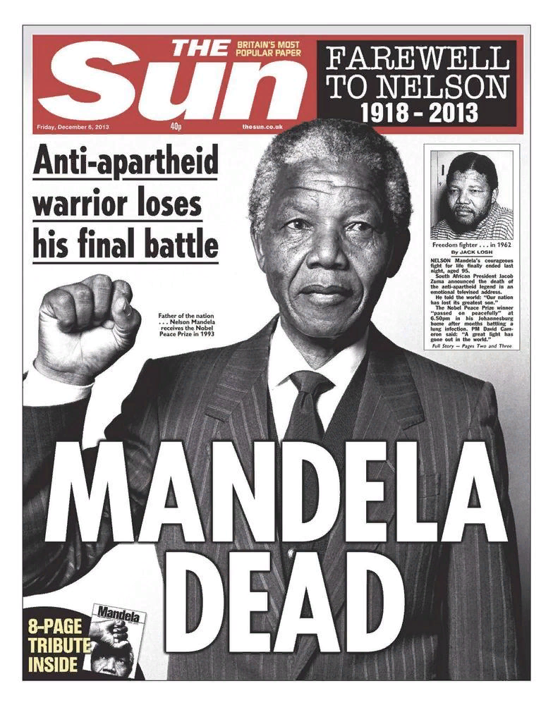 The Sun. Nelson Mandela Death