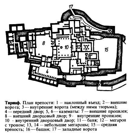 Тиринф. План крепости