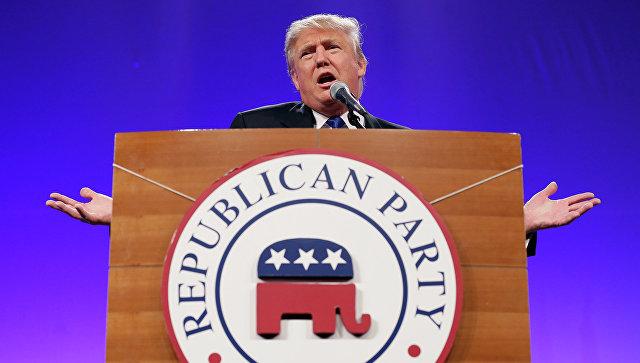 Символ Республиканской партии США и Дональд Трамп