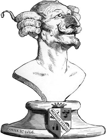 иллюстрация Гюстава Доре изображающая вымышленный бюст Мюнхаузена