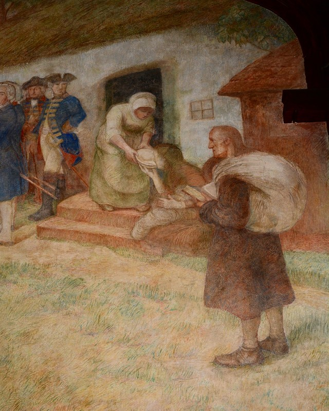 фрагмент фрески в бывшей Фридрихсшуле в Гусеве