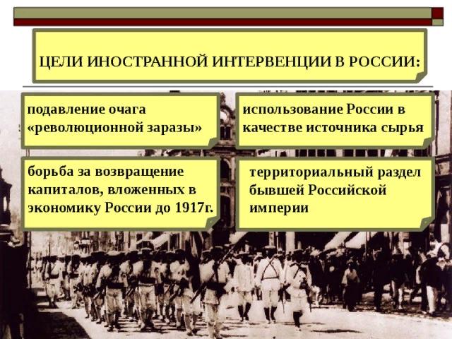Причина вторжения иностранных интервентов в Советскую Россию