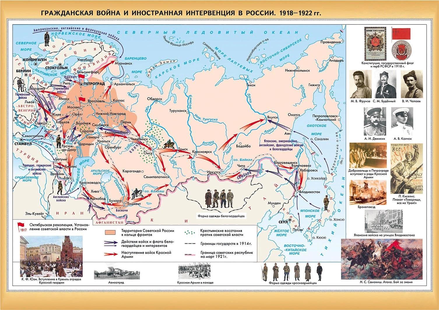 карта интервенции 1918-22 гг.