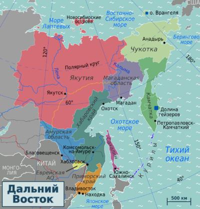 административная карта Дальнего Востока РФ