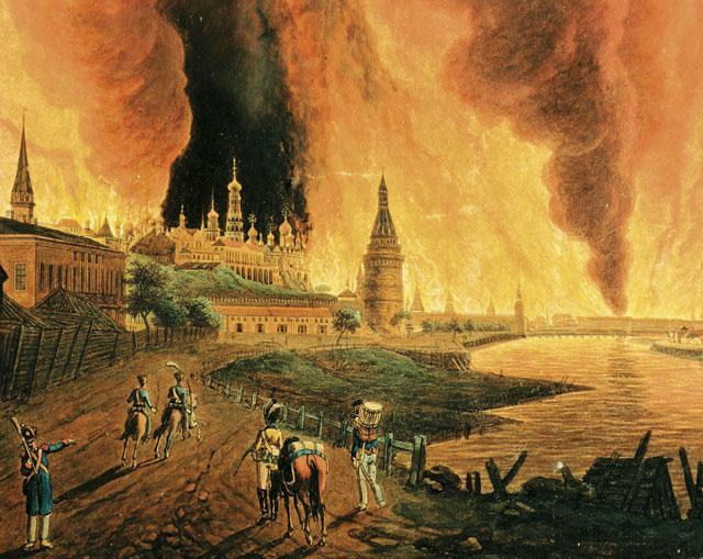 Х.И. Олендорф. Вид на Кремль во время пожара в Москве в сентябре 1812