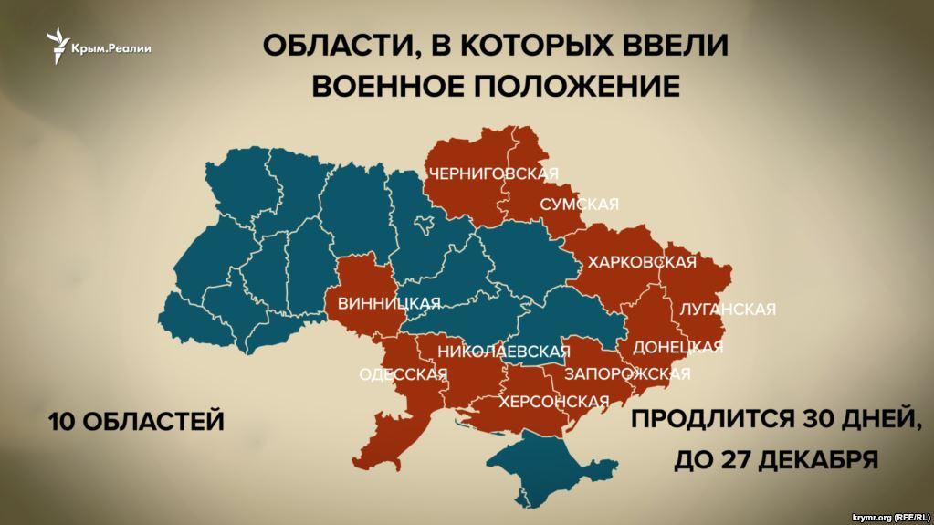 Область, в которой ввели военное положение